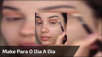 Maquiagem Completa Para O Dia A Dia Com Linda Sombra E Batom Marrom!
