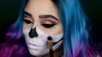 Maquiagem De Caveia Mexicana Para Halloween, Olha Só Que Perfeito!