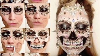Maquiagem De Caveira Mexicana Com Apliques, O Resultado É Encantador!