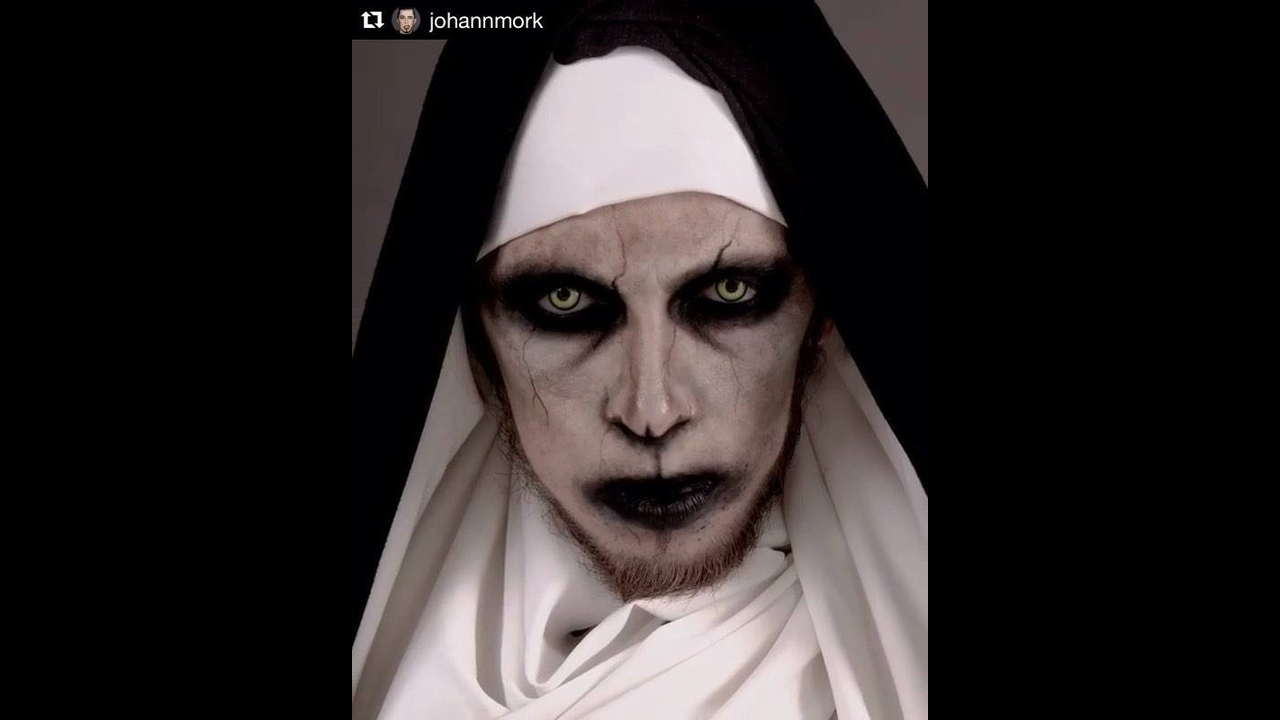 Maquiagem de freira de terror para Halloween