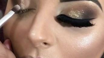Maquiagem Dourada Com Batom Vermelho Escuro, Ficou Maravilhosa!