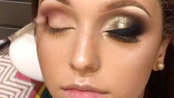 Maquiagem Dourada Para Os Olhos, Veja Que Lindo O Resultado!