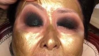 Maquiagem Em Pele Madura, Com Sombra Verde E Batom Rosado!