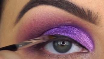 Maquiagem Lilás Com Cílios Postiços, Fica Muito Lindo, Confira!