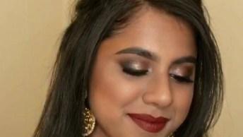 Maquiagem Linda Com Batom Vermelho, Veja Que Pele Bem Trabalhada!