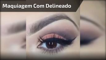 Maquiagem Linda Com Delineado E Sombra Laranja Claro, Olha Só Que Perfeita!