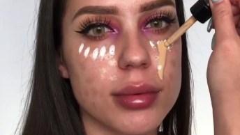 Maquiagem Linda Com Detalhe No Canto Interno Das Pálpebras!