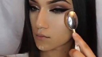 Maquiagem Linda Com Sombra Marrom Metálica Com Delineado Bem Puxadinho!
