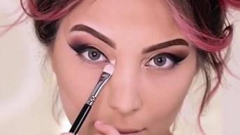 Maquiagem Linda Com Sombra Rosa Cintilante, E Esfumado Preto!