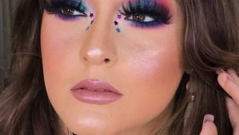 Maquiagem Linda Para Festas Veja Esta Sombra Rosa Com Azul!