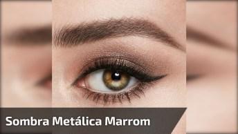 Maquiagem Marrom Para Os Olhos Marrom Com Esfumado E Sombra Metálica!