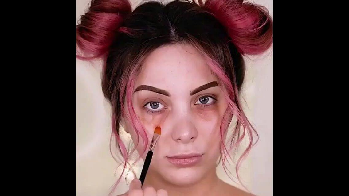 Maquiagem meiga com iluminado incrível