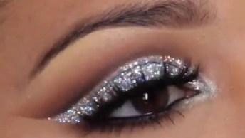 Maquiagem Para A Noite, Com Brilho Prata, Fica Muito Lindo!