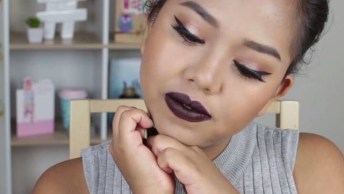 Maquiagem Para Garotas Com Batom Escuro E Sombra Clarinha!