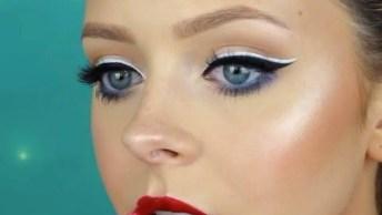 Maquiagem Para Garotas Com Delineado E Batom Vermelho, Olha Só Que Linda!