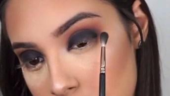 Maquiagem Para Garotas Com Esfumado Marrom, E Sombra Preta Com Glitter!