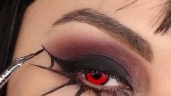 Maquiagem Para Halloween Com Desenho De Teia De Aranha, E Lente Vermelha!