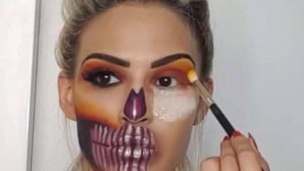 Maquiagem Para Halloween De Caveira Mexicana Diferente De Todas Que Já Viu!