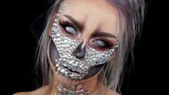 Maquiagem Para Halloween, Uma Caveira Mexicana Com 'Diamantes'!