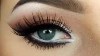 Maquiagem Para Os Olhos, Com Aplicação De Cílios Postiços!
