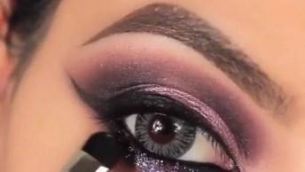 Maquiagem Para Os Olhos Com Brilho Na Parte De Baixo, Fica Lindo!