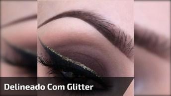 Maquiagem Para Os Olhos Com Delineado Com Contorno Com Glitter!