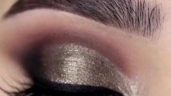 Maquiagem Para Os Olhos Com Esfumado Marrom Escuro, E Sombra Dourada Metalizada!
