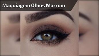 Maquiagem Para Os Olhos Na Cor Marrom, E Delineado Com Traço Grosso!