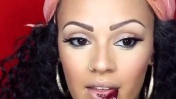 Maquiagem Para Pele Morena Com Batom Vermelho, Mais Uma Linda Opção!