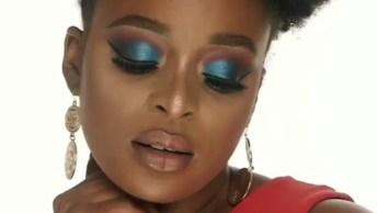 Maquiagem Para Pele Negra, Com Linda Sombra Azul, Você Vai Amar!