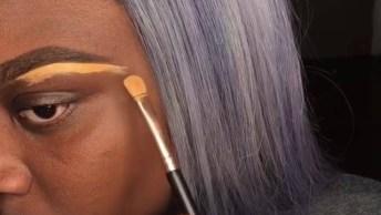 Maquiagem Para Pele Negra Completa Com Lindo Batom Lilás Cintilante!