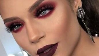 Maquiagem Rosa Com Glitter E Batom Escuro, Uma Make Para Mulheres Ousadas!