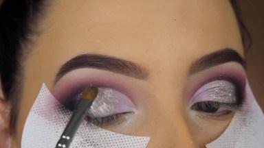 Maquiagem Roxa Com Prata, Ficou Maravilhosamente Linda, Confira!