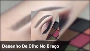 Maquiagem Simples Para Os Olhos E De Bônus Vem Um Desenho No Braço De Olho!