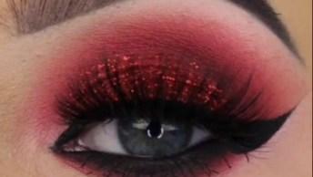Maquiagem Vermelha Com Brilho, O Resultado É Super Lindo E Diferente!