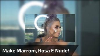 Olho Com Esfumado Marrom, Sombra Rosa Metalizada, E Batom De Cor Nude!