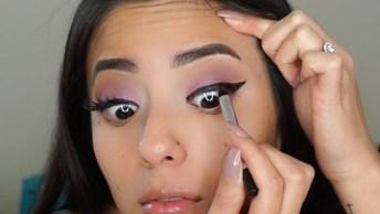 Olhos Com Sombra Lilas Com Delineado E Preparação De Pele Com Contorno!