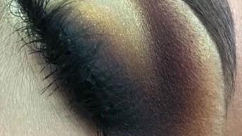 Olhos Maquiados Com Sombra Marrom E Dourada, Mais Um Vídeo Incrível!