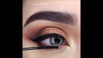 Olhos Marcados Com Uma Linda Sombra Dourada, Você Vai Amar O Resultado!