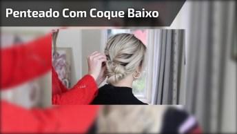 Penteado Com Coque Baixo Super Bonito E Estiloso Para Fazer Nas Amigas!