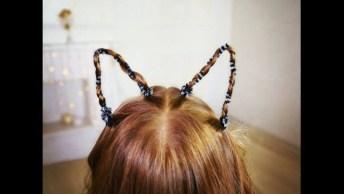 Penteado Com Formato De Orelhas De Gatinhas Muito Legal De Fazer!