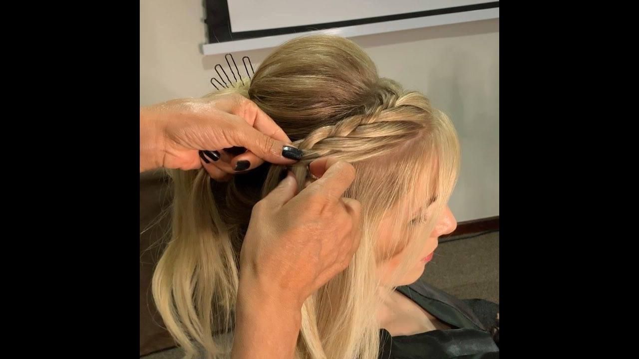 Penteado com trança, veja que perfeição de penteado, deve ficar lindo!