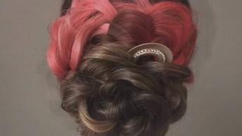 Penteado Com Tranças Em Formato De Rosa, Um Belo Trabalho!