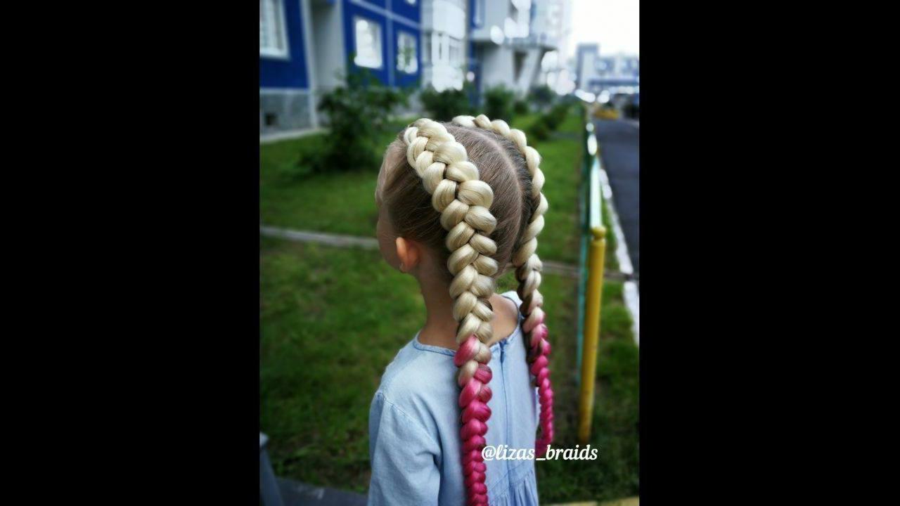 Penteado infantil com pontas rosas