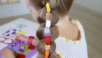 Penteado Infantil Feito Com Amarradores De Cabelos, Fica Lindo E Diferente!