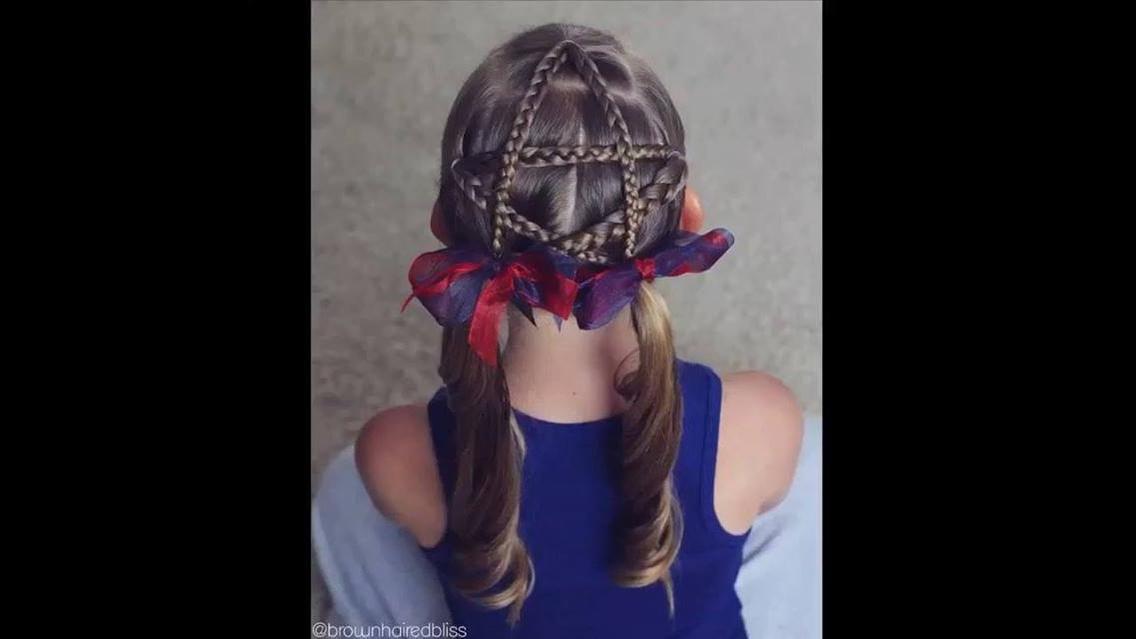 Penteado para meninas com formato de estrelas