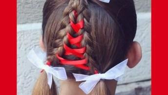Penteado Para Meninas Com Trança E Fita De Cetim, Veja Que Lindinho!