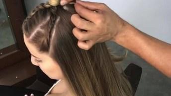 Penteado Semi-Preso Com Trança Para Garotas, Veja Que Lindo E Despojado!