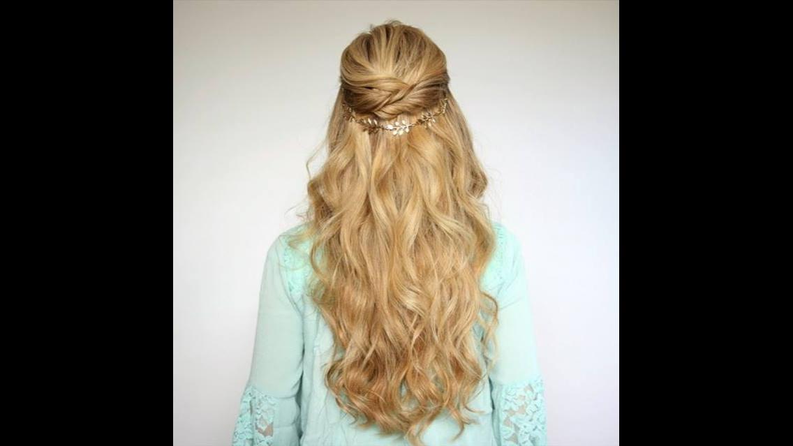 Penteado semi-preso para cabelos longos