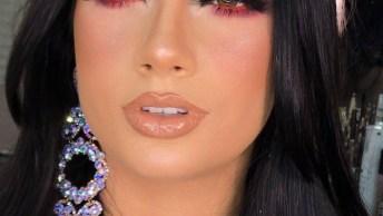 Sombra Azul Com Esfumado Rosa, Uma Super Combinação, Confira!